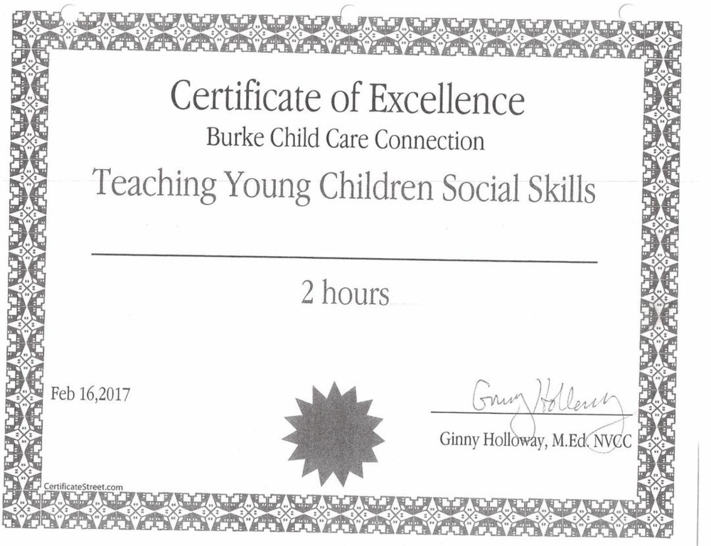 patty's childcare - awards/certificates